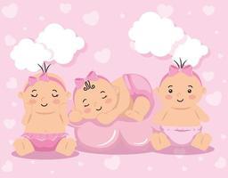 grupo de bebezinhos fofos vetor