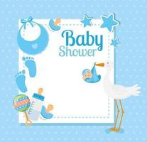 Cartão de chá de bebê com cegonha e decoração vetor