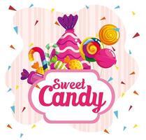 pôster de bala doce com caramelos vetor