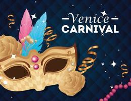 pôster do carnaval de Veneza e máscara e decoração vetor