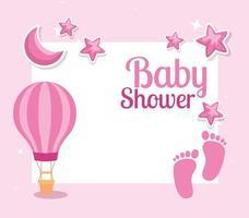 cartão de chá de bebê com pegadas e decoração vetor