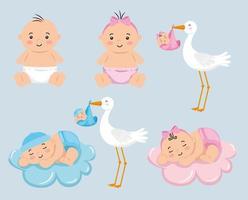 grupo de bebês com cegonha fofa vetor