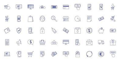 pacote de ícones de conjunto de comércio eletrônico vetor