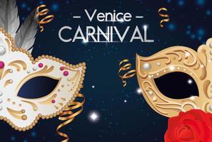 pôster do carnaval de Veneza com máscaras e decoração vetor