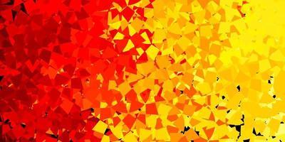 pano de fundo vector vermelho amarelo claro com linhas de triângulos