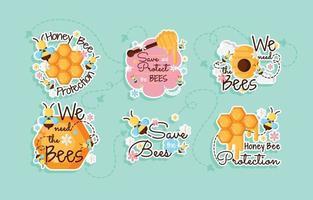 adesivo de proteção de abelha mel vetor