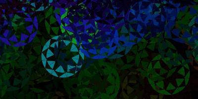 pano de fundo de vetor azul escuro com linhas de triângulos