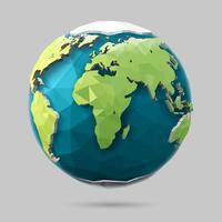 Ícone do globo poligonal. vetor