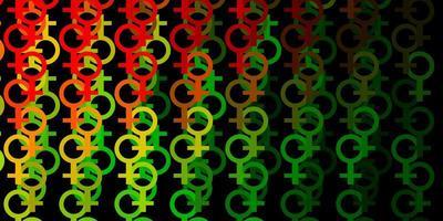 padrão de vetor vermelho verde claro com elementos do feminismo