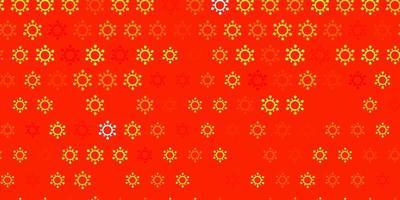fundo laranja claro com símbolos covid19 vetor