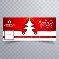 Merry christmas card design de modelo de banner do facebook vetor