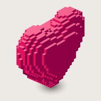 Ilustração do coração isométrica. Ícone de pixel 3D