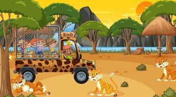 safári na hora do pôr do sol com crianças assistindo o grupo de leopardo vetor