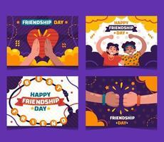 coleções de cartão feliz dia da amizade vetor