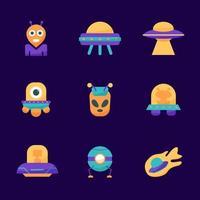 pacote de ícones de OVNIs e alienígenas vetor