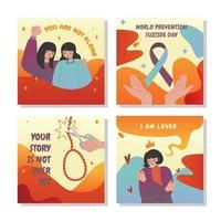 conjunto de cartão de prevenção de suicídio vetor