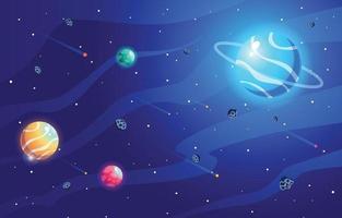 fundo do espaço com elementos planeta e estrelas vetor
