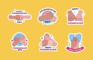 coleção de adesivos de amizade com gestos de mão vetor