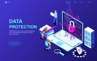 Banner da Web de proteção de dados vetor