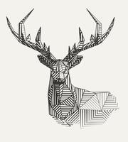 Ilustração geométrica de renas. vetor