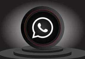 ícone de Whatsapp 3D de mídia social vetor