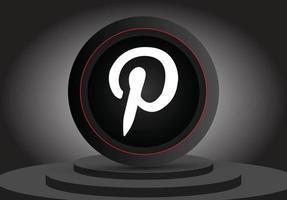 ícone 3d de mídia social do logotipo do pinterest isolado vetor