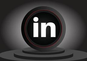ícone de renderização de mídia social 3d linkedin vetor