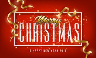 Feliz Natal e feliz ano novo 2019 cartão de saudação vetor