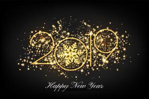 2019 feliz ano novo cartão fundo. Vector illustratio