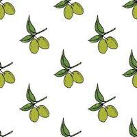 padrão sem emenda de ramo de Oliveira. design de fundo natural com azeitonas para azeite ou produtos cosméticos, ilustração vetorial vetor