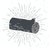 etiqueta vintage de registro de árvore, esboço desenhado à mão, distintivo retro texturizado grunge, impressão de t-shirt de design de tipografia, ilustração vetorial vetor