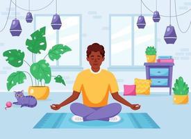 homem afro-americano meditando na posição de lótus em um interior moderno e aconchegante vetor