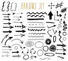 setas, divisórias e fronteiras, elementos desenhados à mão ilustração vetorial definida. vetor