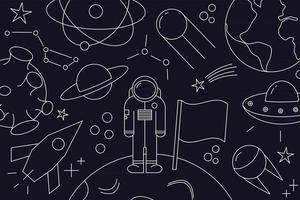 padrão moderno de planeta, estrela, cometa, com foguetes diferentes. desenhos de linha do universo. cosmos. sinais de espaço na moda, constelação, lua. esboço, estilo do doodle, ícone, esboço. em fundo escuro. vetor
