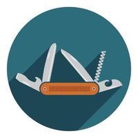 ícone de canivete multifuncional. ferramenta de equipamento de caminhada e acampamento, ilustração vetorial isolada no branco vetor