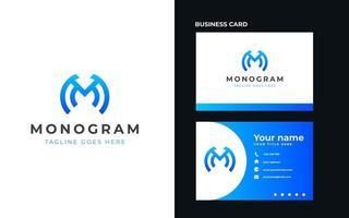 letra m monograma conceito moderno logotipo modelo ilustração vetorial vetor