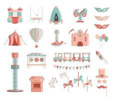 conjunto de ícones de passeios de parque de diversões dos desenhos animados. vetor