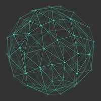 Globo 3d poligonal com pontos e linhas de conexão. vetor
