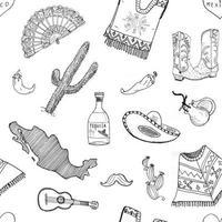 elementos de doodle de padrão sem emenda do México, silhueta de esboço desenhado de mão chapéu sombrero tradicional mexicano, bota, poncho, garrafa de cacto e tequila, pimenta, guitarra. ilustração vetorial fundo vetor
