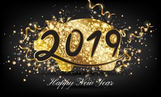Feliz ano novo chinês 2019 dourado porco saudação cartão fundo vetor