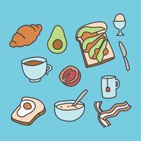 Ícones de café da manhã rabiscado vetor