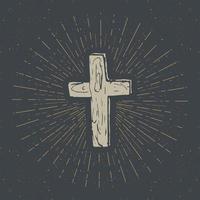 rótulo vintage, cruz cristã desenhada à mão, sinal religioso, símbolo do crucifixo grunge texturizado distintivo retro, impressão de t-shirt de design de tipografia, ilustração vetorial. vetor