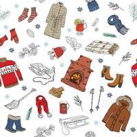 temporada de inverno doodle padrão sem emenda de roupas. mão desenhada elementos de desenho meias quentes, luvas e chapéus. ilustração de fundo vector listrado.