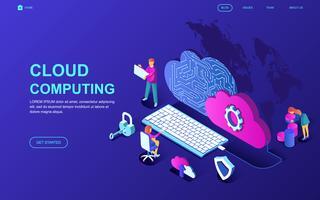 Banner da Web de tecnologia em nuvem vetor