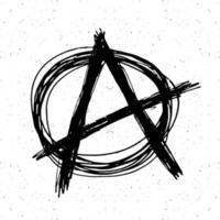 anarquia assinar esboço desenhado de mão. símbolo do punk grunge texturizado. ilustração vetorial. vetor