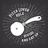 etiqueta vintage cortador de pizza, esboço desenhado à mão, distintivo retro texturizado grunge, impressão de t-shirt com design de tipografia, ilustração vetorial vetor