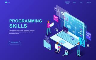 Banner da Web de habilidades de programação vetor