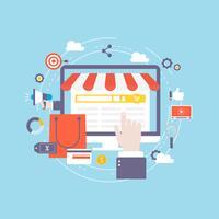 Compras on-line e-commerce shop online vetor