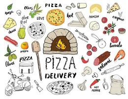 Pizza menu mão desenhada conjunto de esboço. preparação e entrega de pizza doodles com farinha e outros ingredientes alimentares, forno e utensílios de cozinha, scooter, modelo de design de caixa de pizza. ilustração vetorial vetor