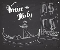 Veneza Itália mão desenhada esboço doodle gondoleiro e letras sinal manuscrito, texto caligráfico do grunge. ilustração vetorial vetor